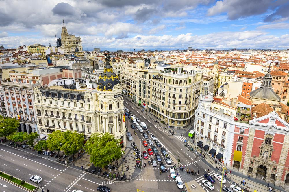 Madrid, Spain cityscape above Gran Via shopping street.-1