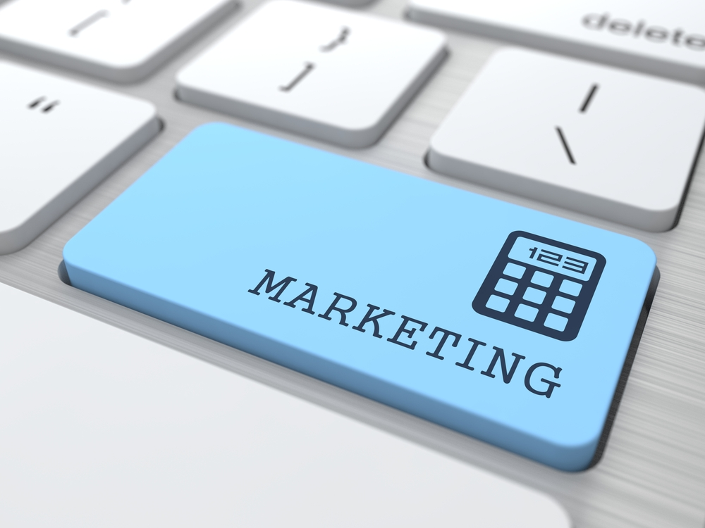 Marketing Concept. Marketing Word on Blue Computer Button.-1