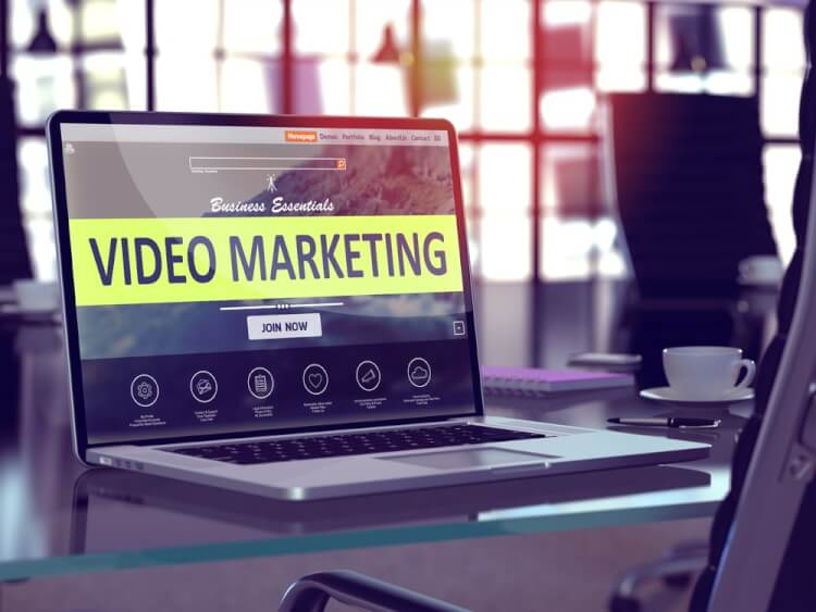 Video Marketing Concept. Closeup Landing Page on Laptop Screen  on background of Comfortable Working Place in Modern Office. Blurred, Toned Image. 3d render.